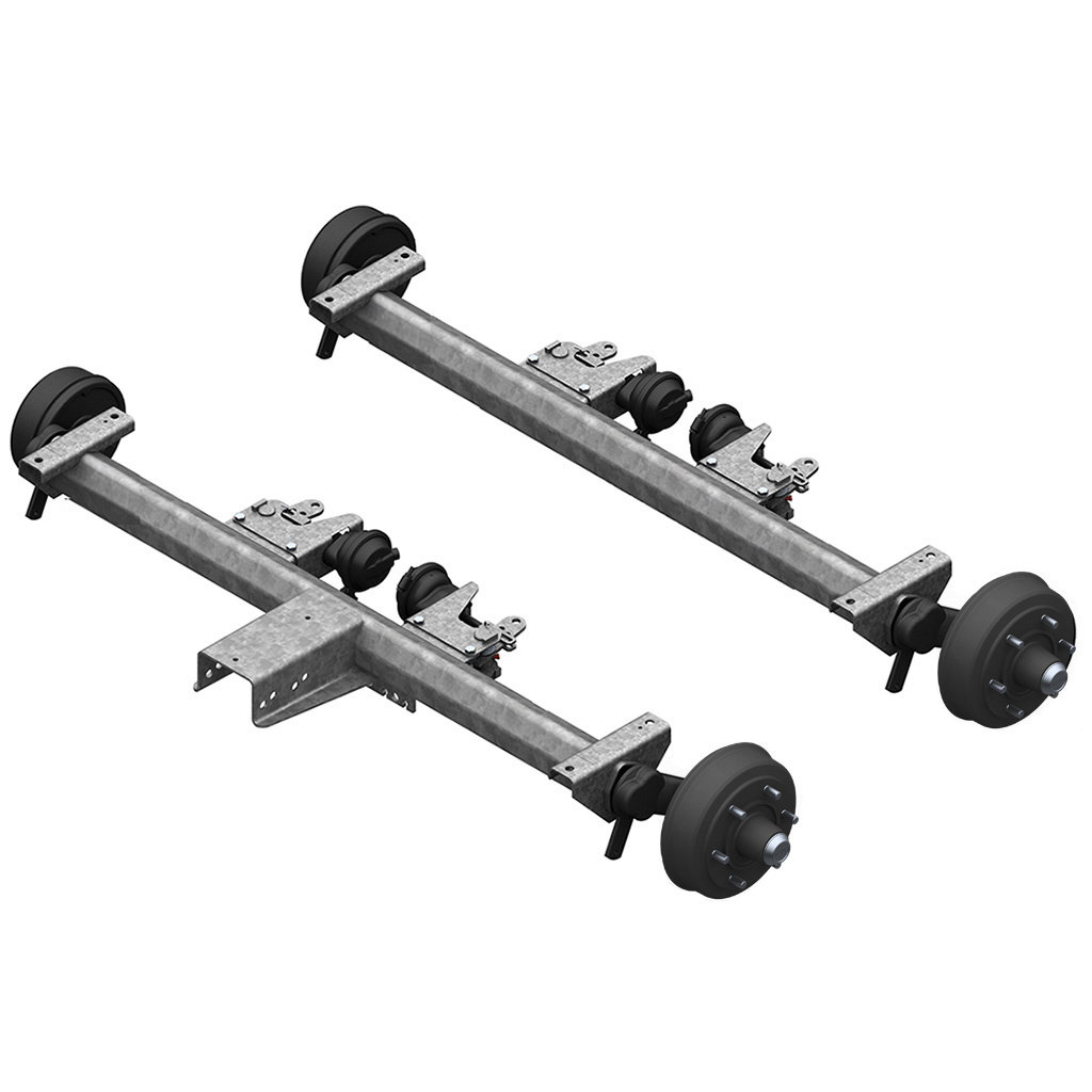 AXLES WITH RUBBER SUSPENSION FOR TRAILERS WITH PNEUMATIC BRAKES, TANDEM UP TO 7500KG, AXLE TYPE BT 4000