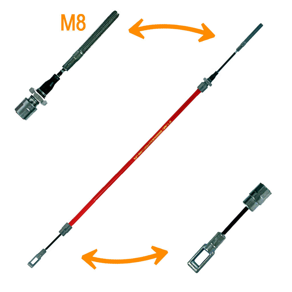 BOWDEN CABLES WITH SLOTTED EYELET AND THREADED PIECE M8