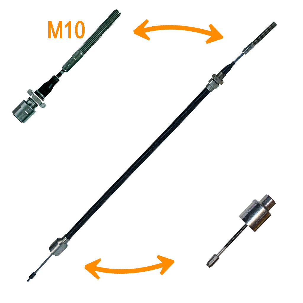 BOWDEN CABLES WITH BELL AND THREADED PIECE M10