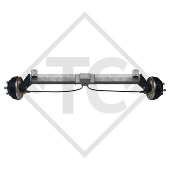 Braked tandem front axle 1000kg BASIC axle type B 850-10 with top hat profile 90mm and AAA (automatic adjustment of the brake pads)