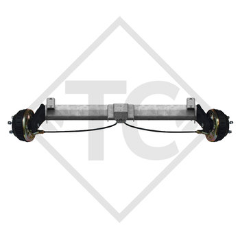 Braked tandem front axle 1350kg BASIC axle type B 1200-6 with top hat profile 90mm