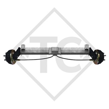 Braked tandem front axle 1350kg BASIC axle type B 1200-6 with top hat profile 130mm and AAA (automatic adjustment of the brake pads)