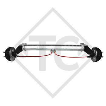 Braked tandem rear axle 1350kg PLUS axle type B 1200-5 with AAA (automatic adjustment of the brake pads)