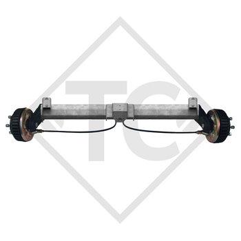 Eje delantero tándem con freno 1500kg BASIC tipo de eje B 1600-3 con perfil en U 90mm y AAA (Reajuste automático de las zapatas de freno)