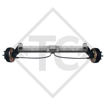 Braked tandem front axle 1500kg BASIC axle type B 1600-3 with top hat profile 130mm and AAA (automatic adjustment of the brake pads)