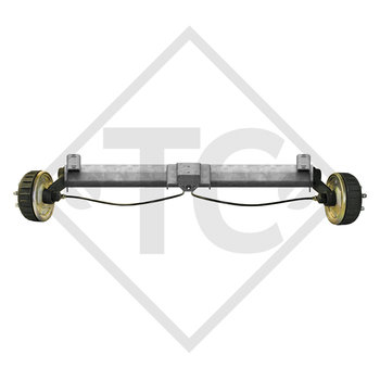 Braked tandem front axle 1600kg BASIC axle type B 1600-1 with top hat profile 130mm and AAA (automatic adjustment of the brake pads)