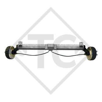 Eje con freno 1800kg BASIC tipo de eje B 1800-9 con perfil en U 130mm y AAA (Reajuste automático de las zapatas de freno)