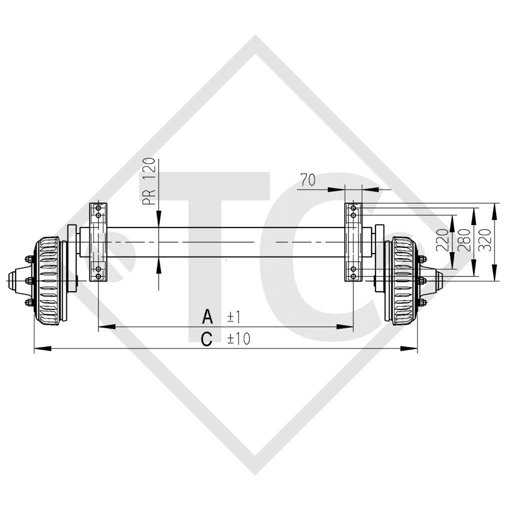 Achse gebremst 3000kg PLUS Achstyp B 3000-2 mit Hutprofil 130mm