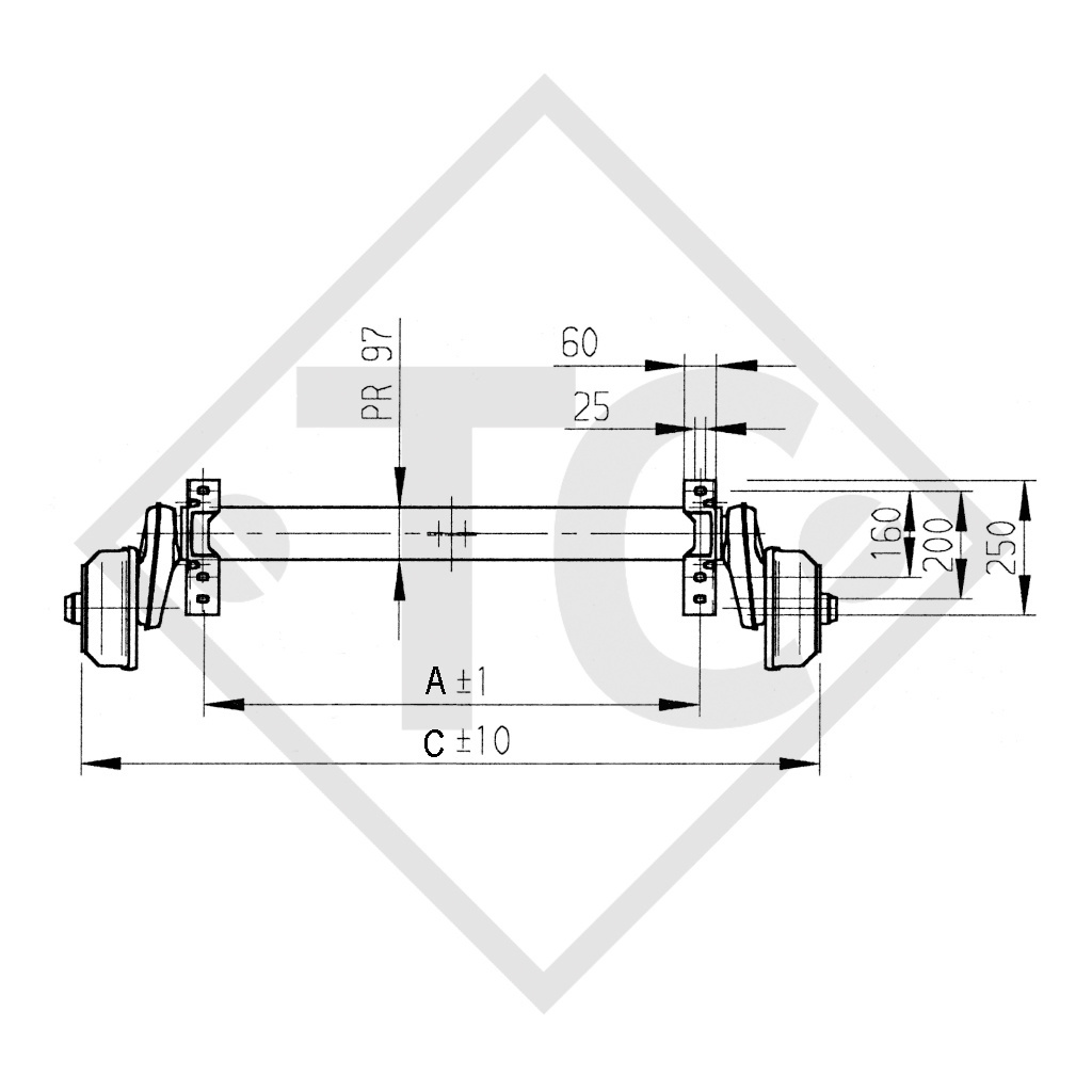 Braked tandem front axle 1500kg EURO COMPACT axle type B 1600-3