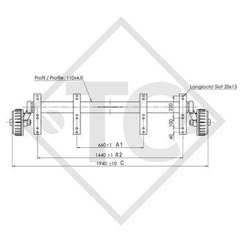 Braked axle 1800kg PLUS axle type B 1800-9