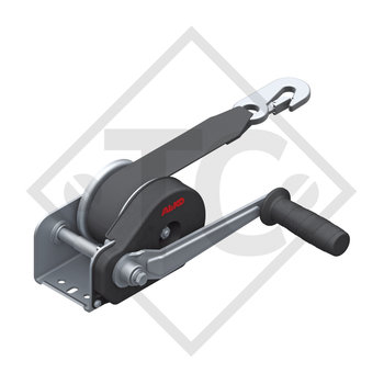 Cable winch PLUS 350kg, type 351 with automatic weight brake, without automatic unwinder, fitted with 4 meter strap for towing