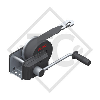 Cable winch PLUS 500kg, type 501 with automatic weight brake, without automatic unwinder, fitted with 7 meter strap for towing