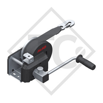 Cable winch PLUS 500kg, type 501 with automatic weight brake, with automatic unwinder, fitted with 7 meter strap for towing