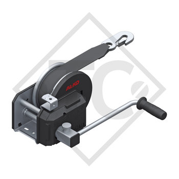 Cable winch PLUS 900kg, type 901 with automatic weight brake, with automatic unwinder, fitted with 10 meter strap for towing