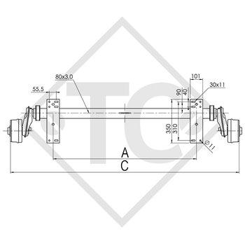Achse gebremst 900kg EURO COMPACT Achstyp B 850-5