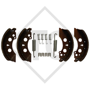 Brake shoes, wheel brake 2051 with deflection 90°, for lowering axles, brake size 200x50mm