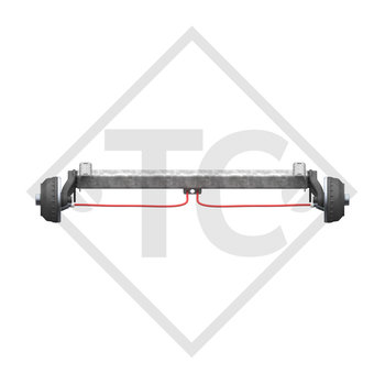 Braked axle 1050kg BASIC axle type CB1050 with AAA (automatic adjustment of the brake pads)