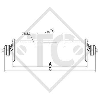 Achse gebremst 750kg BASIC Achstyp B 700-5 mit Wiederlager von oben, Anssem GTV 1500