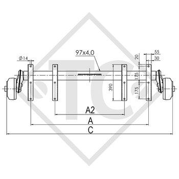 Achse gebremst 1500kg EURO COMPACT Achstyp B 1600-3 mit Tandem-Widerlager von oben, Anssems MSX 3000