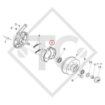 Brake shoes, wheel brake SB 135.30 brake size 135x30mm