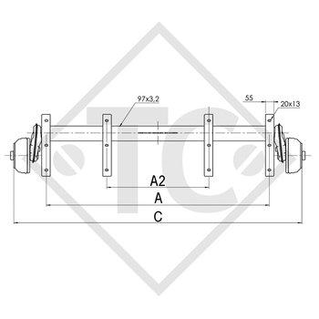 Achse gebremst 1350kg EURO COMPACT Achstyp B 1200-6 mit Tandem-Widerlager von unten, LIDER