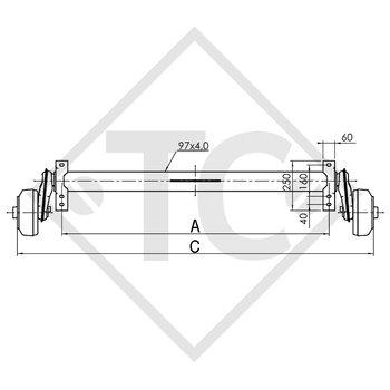 / HUMBAUR Achse gebremst 1500kg EURO COMPACT Achstyp B 1600-3 mit Tandem-Widerlager oben