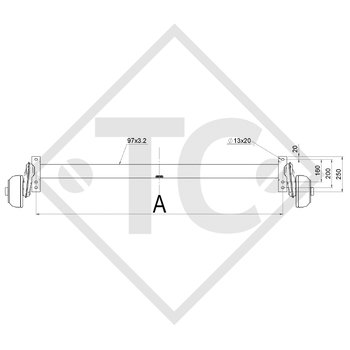 Achse gebremst 1300kg Achstyp B 1600-06