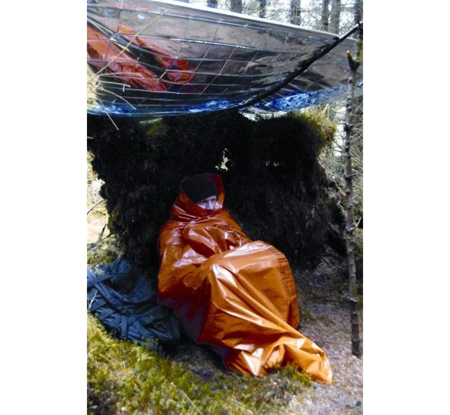 Emergency Survival Bivi Bag met survival-instructies (fel-oranje overlevingszak)