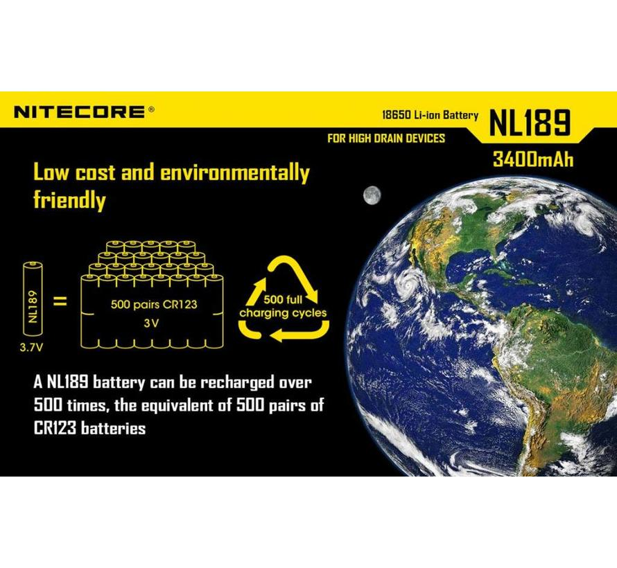 NiteCore 18650 Lithium-Ion oplaadbare batterij (3.7V 3400mAh)