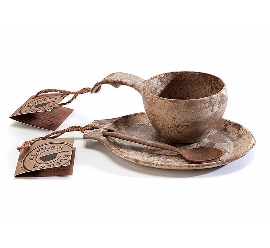 Kupilka Kadoset - mok + bord + lepeltje (bruin)