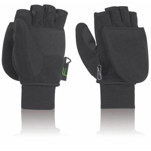 Fuse Handschoenen Omklapbare fleece wanten (zwart)