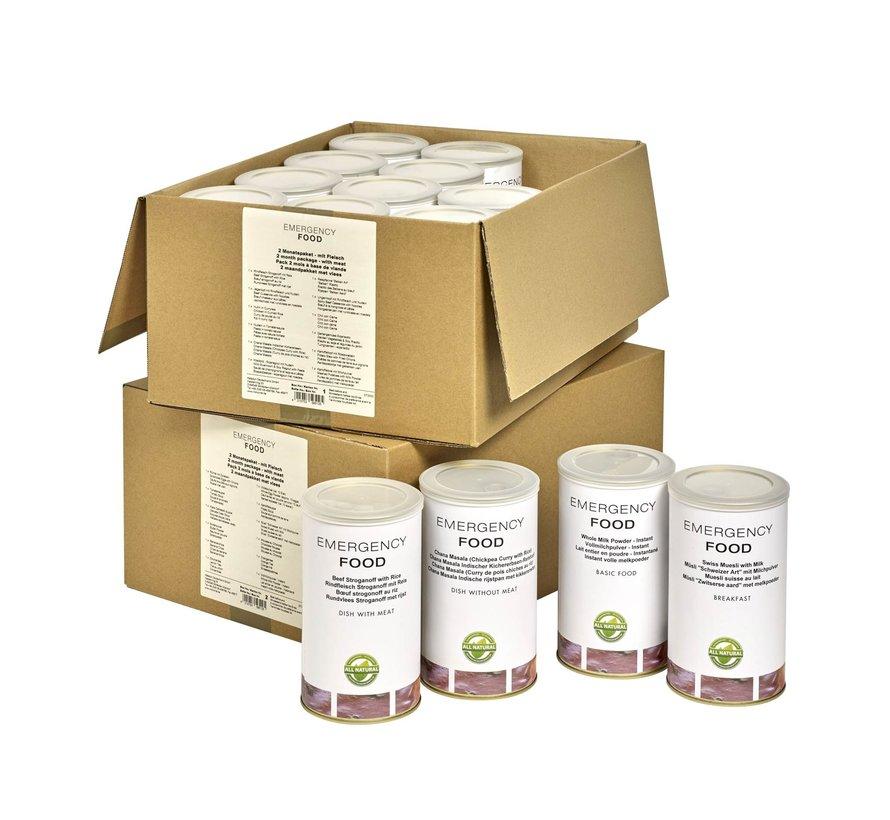 60-dagen Noodvoedselpakket (Noodrantsoenen - ook met vlees)
