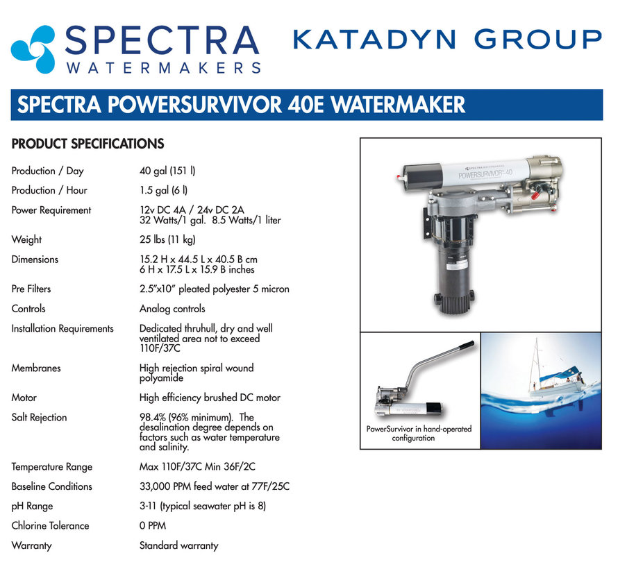 Katadyn Power Survivor 40E Electrical Desalinator