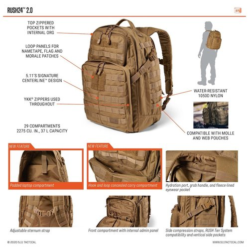 5.11 Tactical 5.11 Tactical RUSH 24 V2.0 Tactical Backpack (zwart)