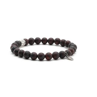 By Shir For Him armband kralen Jaspis Brecci (rood) met stalen tussenrkaal