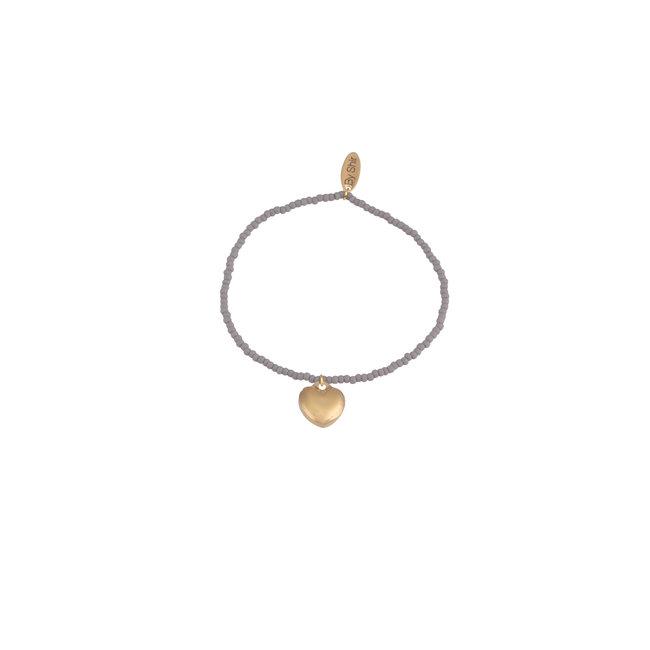 By Shir Armband kraaltjes grijs met hartje goud