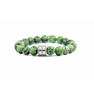 By Shir Heren armband Ruby in Zoisite met stalen moer