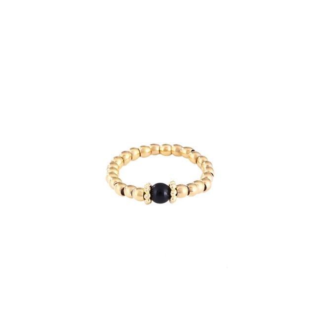 By Shir Ring steentje agaat (zwart)verguld edelstaal