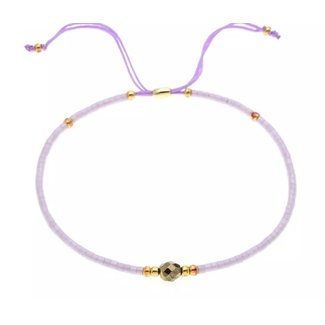 By Shir Armband kraaltjes verstelbaar  Lila