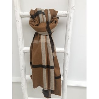 By Shir Sjaal  faux cashmere camel grote ruit