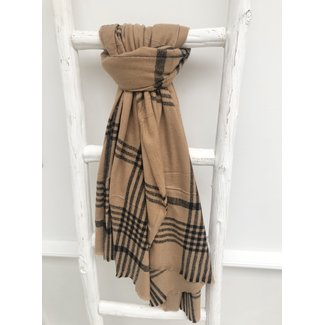 By Shir Sjaal faux cashmere camel zwarte streep