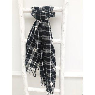 By Shir Sjaal  faux cashmere met kwastjes zwart wit