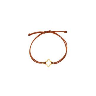 By Shir Armband touw verstelbaar klaver bruin