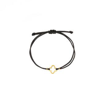 By Shir Armband touw verstelbaar klaver zwart