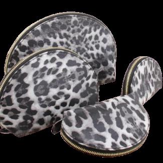 By Shir Toilettasje leopard grijs