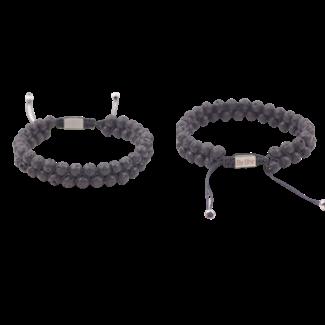 By Shir For Him armband verstelbaar dubbele rij Lava kralen