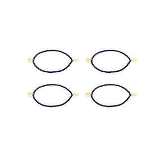 By Shir Armband  kraaltjes zwart met bedel naar keuze 14k verguld