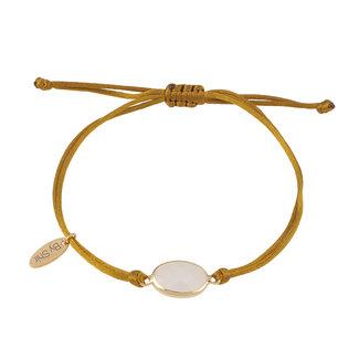 By Shir Armband silk koord olijf steen wit goud