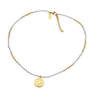 By Shir Ketting kort edelstenen Agaat grijs met muntje edelstaal 14k goud