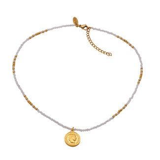 By Shir Ketting kort edelstenen Howliet wit met muntje edelstaal 14k goud